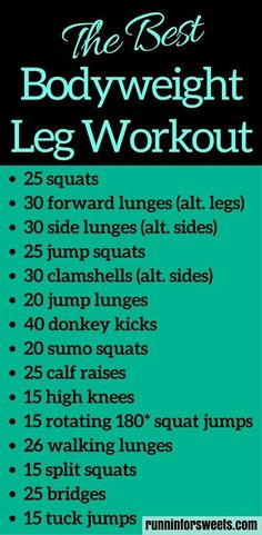 This 20 minute bodyweight leg workout for runners requires no supplies and can be done in your living room. Slim your legs and build muscle for an ideal toning workout. For the ultimate strength gain and leg burn, try these leg exercises! #legworkout #leg Bodyweight Strength Training, Cardio Training, High Intensity Interval Training, Leg Strength Workout, Bodyweight Fitness, Home Strength Training, Training Exercises, Strength Training For Beginners, Hockey Training