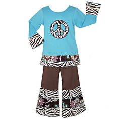 @Overstock - This trendy two-piece outfit for girls from AnnLoren arrives with blue, long-sleeved top detailed by a zebra print peace sign. The brown pants end in double zebra and floral print ruffled cuffs and an elastic waist for comfortable style.http://www.overstock.com/Clothing-Shoes/AnnLoren-Girls-2-piece-Zebra-Peace-Sign-Outfit/6816505/product.html?CID=214117 $27.99