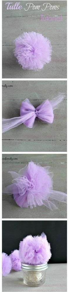 22. #Tulle Pom Poms Tutorial - 31 Playful Pom Pom #Crafts for Kids and Adults…