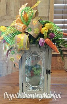 Easter Lantern With Swag Centerpiece-Easter Swag-Easter Bunny Lantern Swag-Spring Centerpiece-Bunny Centerpiece-Easter Decor-Easter Lantern by CoyoteCountryMarket on Etsy Easter Decor, Easter Crafts, Easter Ideas, Cute Easter Bunny, Lanterns Decor, Easter Holidays, Easter Wreaths, Holidays And Events, Easter Eggs