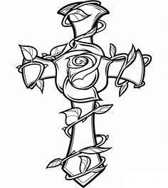 Tattoo Coloring Book Pages Beautiful How to Draw A Rose and Cross Tattoo Step by Step Tattoos Pop Culture Free Line Drawing Cross Coloring Page, Tattoo Coloring Book, Free Adult Coloring Pages, Coloring Pages To Print, Coloring Book Pages, Printable Coloring Pages, Coloring Sheets, Flower Coloring Pages, Kids Coloring