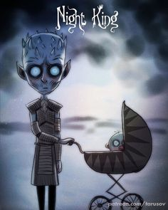 The Night King: Andrew Tarusov, a Russian-born artist famous for redrawing popular characters in Tim Burton's style, has decided to dedicate his newest work to the world of Game Of Thrones.