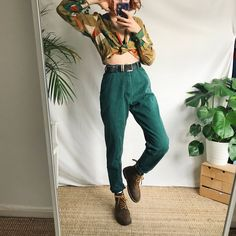0ec404f4eaa Beautiful deep emerald green vintage mom jeans