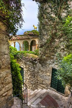 Street to The Botanical Gardens, Eze, Cote d'Azur, France