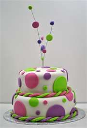 cake designed to celebrate a wedding shower. Cake is all chocolate and covered in white fondant and decorated with bright polka-dots. Cake will serve 20 to Fondant Girl, Fondant Cakes, Cupcake Cakes, Pretty Cakes, Beautiful Cakes, Amazing Cakes, Polka Dot Birthday, Polka Dot Party, Polka Dot Cakes