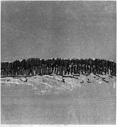 "#drzeworyt MATSUBARA, Naoko Winter Pond from Series of Woodcuts ""Solitude"", 1971"