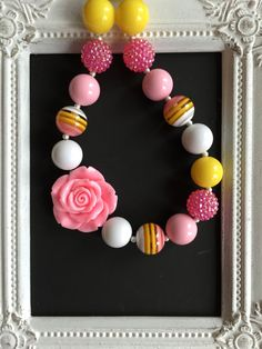 Pink and yellow bubblegum necklace by LilchicboutiqueLIC on Etsy