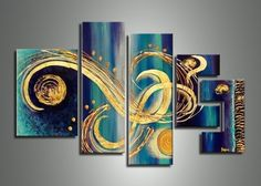 Modern Hand-painted Abstract Blue Spa... $225.00 #topseller