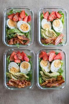30 Inspiring Compliant Meal Ideas - Meal Prep on Fle.- 30 Inspiring Compliant Meal Ideas – Meal Prep on Fleek™ Bacon & Strawberry Breakfast Salad - Quick Healthy Breakfast, Healthy Meal Prep, Healthy Drinks, Healthy Snacks, Savory Breakfast, Nutrition Drinks, Healthy Cooking, Healthy Lunchbox Ideas, Easy Lunch Meal Prep