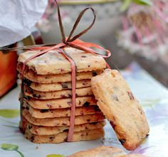 Dried Cherry Shortbread Cookies