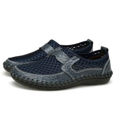 Big Size Men Hand Stitching Breathable Honeycomb Mesh Loafers Flats - Banggood Mobile