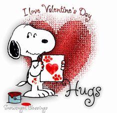"""I love Valentine's Day"" Snoopy hugs"