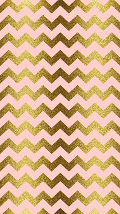 Gold glitter, blush pink, chevron | iPhone Wallpaper