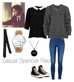 """""""Casual Spencer Reid"""" by crywolfeveryday ❤ liked on Polyvore featuring Lipsy, Converse, Belstaff, Patrizia Pepe, women's clothing, women's fashion, women, female, woman and misses"""