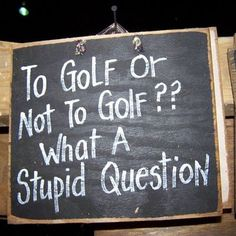 To Golf or Not to Golf. What a Stupid question. #Golf #Golfjokes #humor Golf like a pro with these tips. Click the link for more information http://www.bestgolfprotips.com