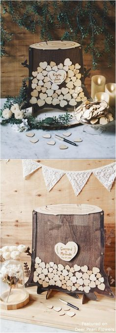 20 Creative Rustic Wooden Wedding Guest Books from Etsy Rustic Wedding Centerpieces, Rustic Weddings, Wedding Rustic, Wedding Bride, Dream Wedding, Wedding Decorations, Wooden Wedding Guest Book, Parts Of A Flower, Tree Stump