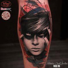 trash polka portrait tattoo idea