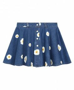 Retro Style Daisy Print High Waist Denim Skirt