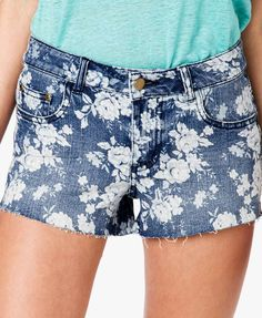 Distressed Rose Print Denim Shorts   FOREVER21 #Summer #CutOffs #Floral