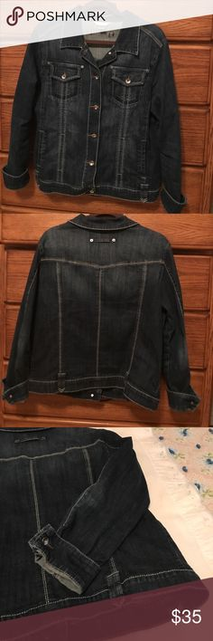 Christopher & Banks Jean Jacket Very cute missy Jean jacket. Received compliments whenever I wore this. Soft broken in feel and a little stretch to the demon. Very nice detailing. I tried to show in photos. Christopher & Banks Jackets & Coats Jean Jackets