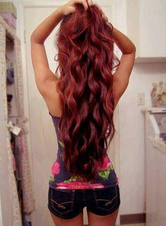 Red long hair→I want my hair this long