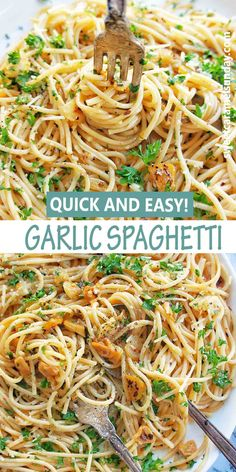 Quick easy Garlic Spaghetti is perfect any night of the week! This vegetarian pasta is simple to make and packed with flavour! #dinner #pastarecipes #easydinnerrecipes @sweetcaramelsunday Easy Pasta Recipes, Spaghetti Recipes, Easy Dinner Recipes, Easy Meals, Healthy Recipes, Sweets Recipes, Drink Recipes, Delicious Recipes, Sunday Recipes