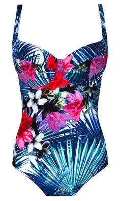 Trynidad KK453 niebieski jednoczęściowy strój kąpielowy w kwiaty