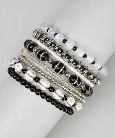 Black & White Beaded Coil Bracelet