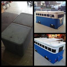 Vw vintage ice chest Repurposed, Upcycled Garden, Ice Chest Cooler, Subaru, Combi Vw, Vw Vintage, Wheels On The Bus, Great Ads, Volkswagen Bus
