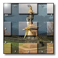 Statue of Robert Bruce in Scotland at Castle in Edinburg Made into Beveled Tiles and Postured Behind Wall Clock