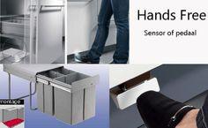Sensor/pedaal inbouw prullenbak, gescheiden afval