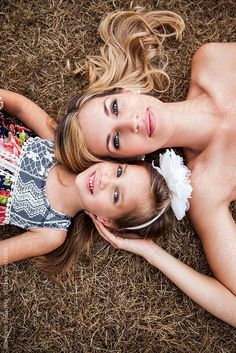 Portrait of a mother and her daughter lying down on the grass by Suprijono Suharjoto - Stocksy United - Royalty-Free Stock Photos Mommy Daughter Pictures, Mother Daughter Pictures, Mother Daughters, Family Photo Sessions, Family Posing, Family Portraits, Family Photo Shoot Ideas, Children Photography, Photography Poses