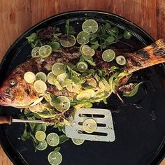 Summer Fish Recipe: Whole Grilled Fish with Lime By bon appétit magazine Grilled Fish Recipes, Grilled Seafood, Grilled Salmon, Fish And Seafood, Seafood Recipes, Cooking Recipes, Tilapia Recipes, Grilling Recipes, Cooking Tips
