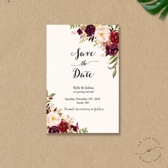 Bohemian Save The Date card Fall Wedding Save the Dates