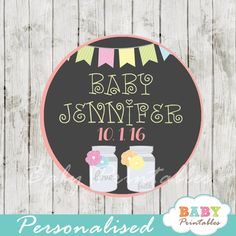 Modern chalkboard bunting mason jar tags personalized for you offer so many ways to use them! The printable mason jar tags can be printed on cardstock or sticker paper for a variety of uses including Favor Tags, Gift Bag Tags, Cake or Cupcake Toppers, Stickers and more! #babyprintables
