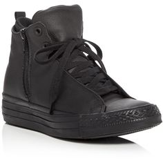 Converse Chuck Taylor All Star Selene Leather High Top Sneakers ($105) ❤ liked on Polyvore featuring shoes, sneakers, black, converse sneakers, black leather high tops, black sneakers, black high top shoes and high top sneakers