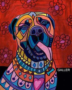 Use Discount Code - SAVEME60 - NEW Bullmastiff ART Art Print Poster by Heather Galler (HG697)