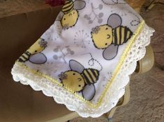 Fleece Nursary Blanket with Bumble Bee's, Crocheted Blanket, Baby Blanket, Crib Bedding by Lorettescottage on Etsy