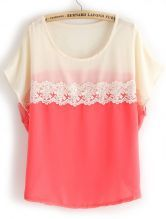 Red White Short Sleeve Lace Chiffon Blouse $21.64