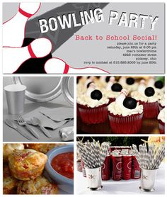 Back to School Bowling Party Inspiration Board Laser Tag Party, Little Man Party, Bowling Party, Party Time, Party Party, Birthday Party Themes, Birthday Ideas, Party Treats, Snacks