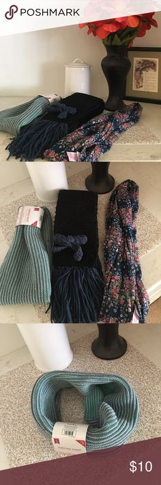 💐🛍SCARF SET!💐🛍 MOTHERS DAY GIFT!! Perfect gift for Mother's Day or whenever! A set of three scarves. The only used one is the hand crocheted black scarf! And it's still in really good condition! No stains or rips! The other two have never been worn! Accessories Scarves & Wraps