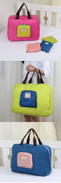 $5.23 Folding Travel Storage Bag Waterproof Plaid Dacron Bag