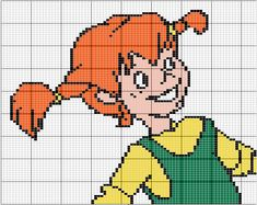 Billedresultat for pippi langstrømpe hama Cross Stitch For Kids, Cross Stitch Art, Beaded Cross Stitch, Crochet Cross, Cross Stitch Designs, Cross Stitch Embroidery, Cross Stitch Patterns, Hama Art, Perler Bead Disney