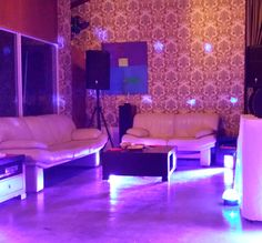 Having a house party or smaller dance floor area? Check out these cool lights we can put at all corners of the dance floor without taking up any extra room. They are sound-active and change colour to the beat of the music.