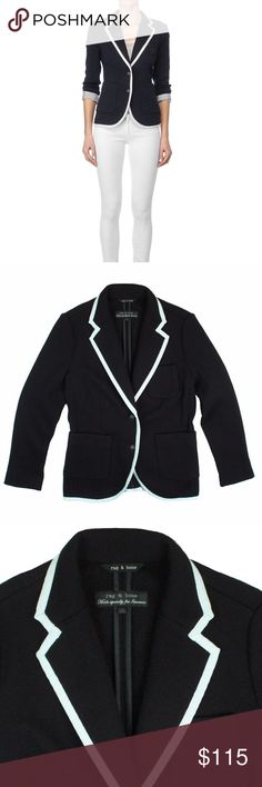 """RAG & BONE Black Knit Bromley Blazer Jacket Excellent condition! This black knit Bromley blazer from Rag & Bone features white tipped detail, button closures, front pockets and is partially lined. Fitted shrunken style, slightly cropped sleeves .Made of 100% merino wool. Measures: bust: 35"""", total length: 23"""", sleeves: 21"""" rag & bone Jackets & Coats Blazers"""