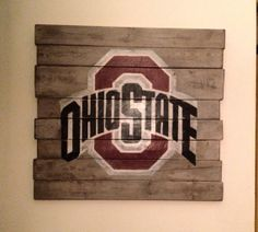 Someone maybe getting this for Christmas... Ohio State University Wall Hanging by PalletsandPaint on Etsy,