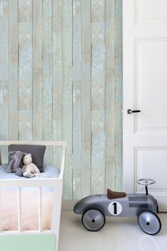 Behang hout kinderkamer / Wallpaper wood Children's room collection More Than Elements - BN Wallcoverings