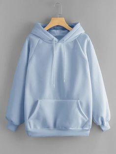 Dotfashion Blue Pocket Drawstring Detail Solid Hoodie Women Casual Clothing Autumn Plain Long Sleeve Hooded Pullovers Sweatshirt - blue,s Trendy Hoodies, Hoodies For Girls, Plain Hoodies, Plain Shirts, Blue Hoodie, Mode Style, Aesthetic Clothes, Aesthetic Girl, Pulls