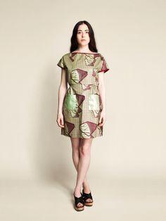 Robe Coton Femme Rangoon motif Géologique en vert et Bourgogne