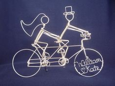 Tandem Bike Riders Wedding Cake Topper PERSONALIZED by heatherboyd, $90.00